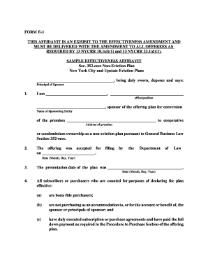Sample Effectiveness Affidavit Form E-1 - New York Attorney General - oag state ny