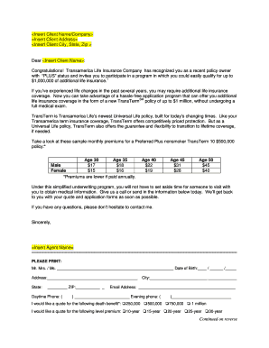 pre approach letter form