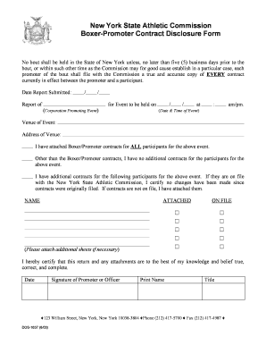 Nys Boxer Promoter Contract Fill Online Printable Fillable