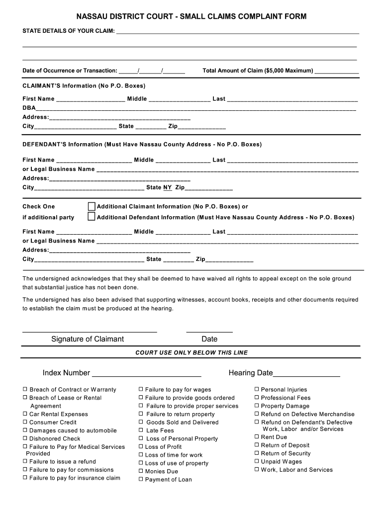 Nassau County Small Claims Court Complaint Form - Fill