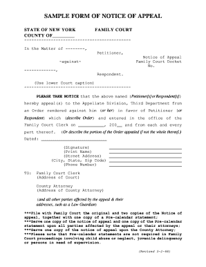 Notice Of Appeal Sample Form - Fill Online, Printable, Fillable ...