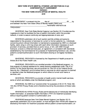 Fillable Online Omh Ny Psyckes Confidentiality Agreement