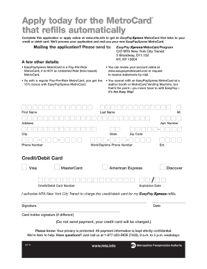 Easypay Metro Card Fill Online Printable Fillable Blank Pdffiller