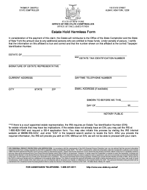 Nys Hold Harmless Agreement Fill Online Printable