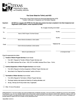 Fillable Online Fax Cover Sheet for TxHmL and HCS. Form 0702 Fax ...