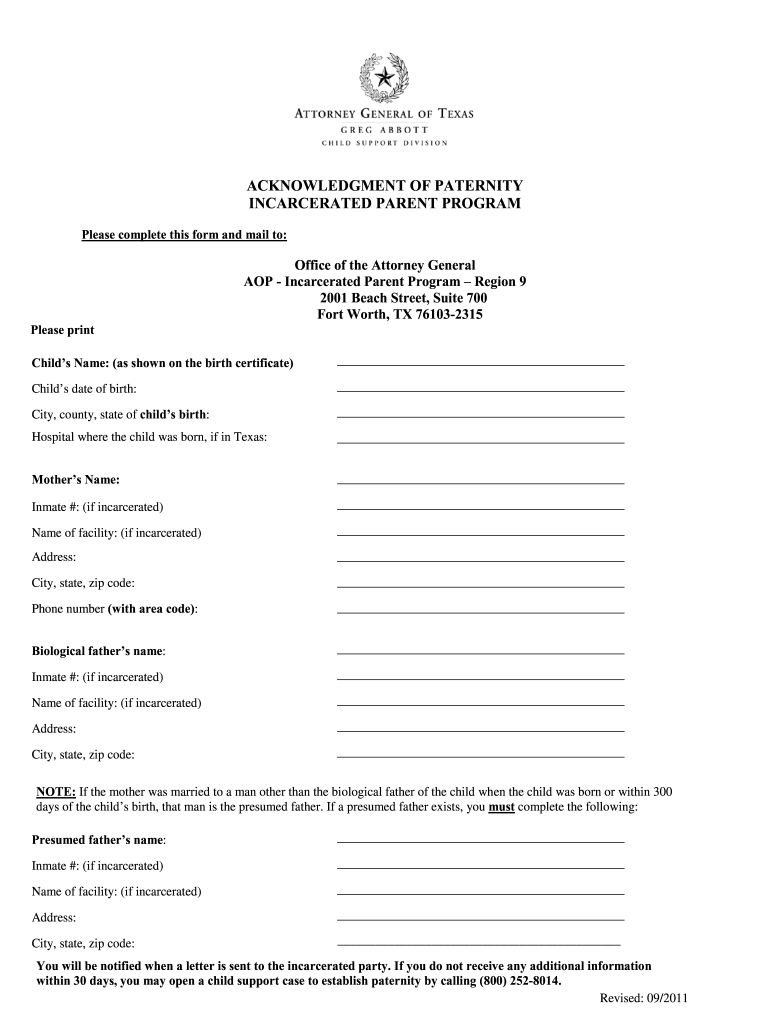 Paternity Acknowledgment Form Texas - Fill Online, Printable