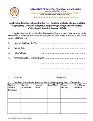 Scholarship In Chhattisgarhpdf Fill Online Printable Fillable