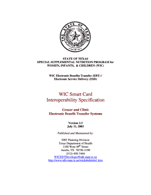 Fillable Online dshs state tx WIC Smart Card Interoperability ...