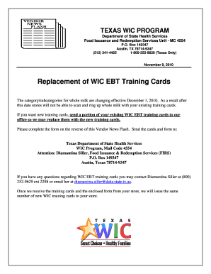 Fillable Online dshs state tx Replacement of WIC EBT Training ...