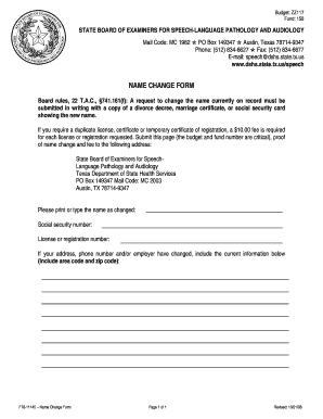 Fillable Online dshs state tx NAME CHANGE FORM - Texas Department ...