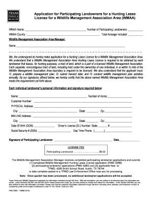 Fillable Online Tpwd State Tx Texas Parks And Wildlife Application For Participating Landowners For A Hunting Lease License For A Wildlife Management Association Area Form Fax Email Print Pdffiller