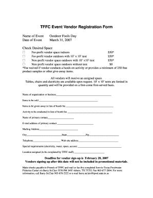 Fillable Online tpwd state tx TFFC Event Vendor Registration Form ...