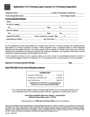 Texas Hunting Lease License 2020 Fill Online Printable Fillable Blank Pdffiller