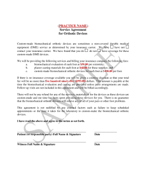 Sample Orthotics Consent Form.