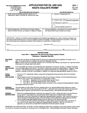 Fillable Online rrc state tx Form WH-1: Application for Oil and ...
