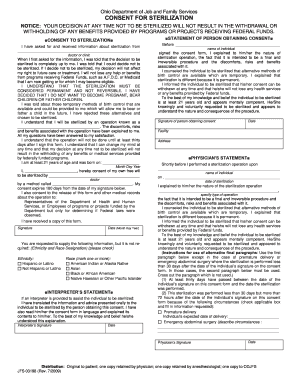 Ohio Medicaid Consent For Sterilization - Fill Online, Printable ...