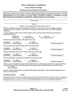 Form PS-185-A: Installment Payment Worksheet (Small School) - twc state tx