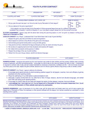 Youth soccer player contract example fill online for Football contract template