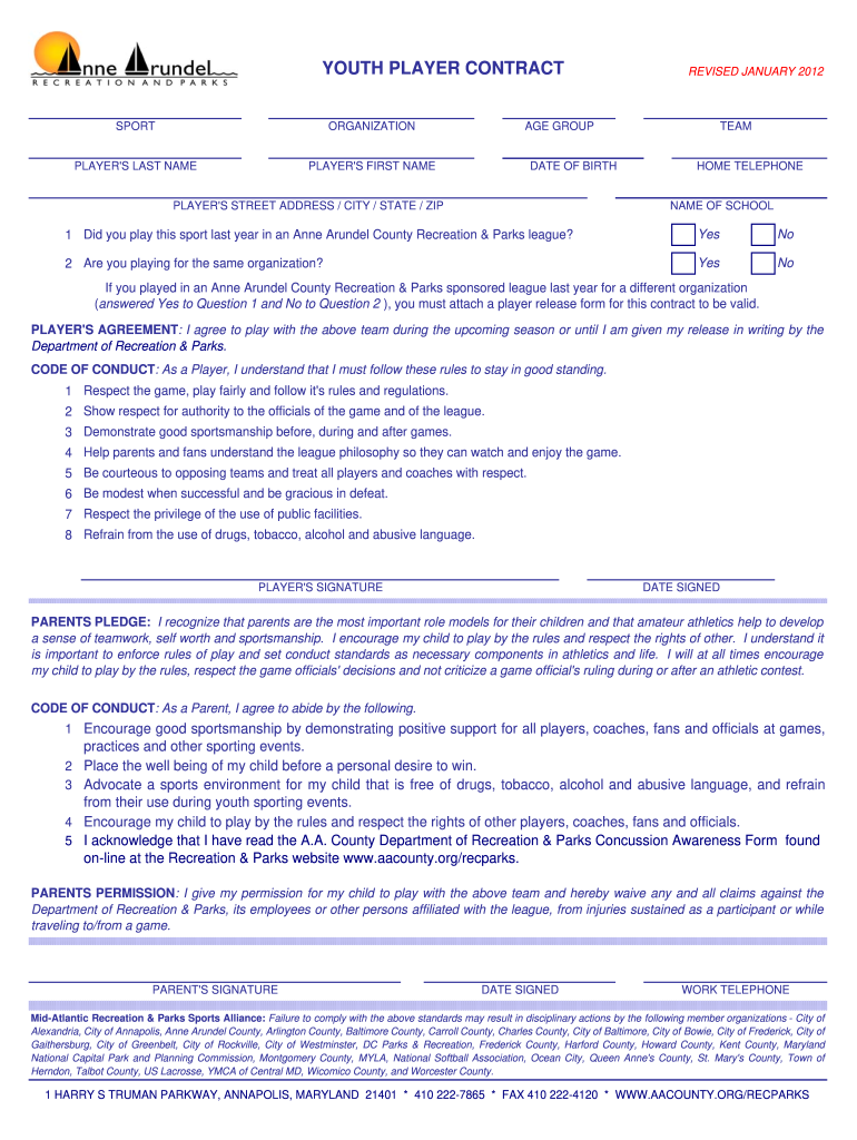 Youth Soccer Player Contract Example - Fill Online, Printable