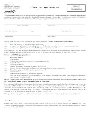 Ky Farm Tax Exempt Form - Fill Online, Printable, Fillable, Blank ...
