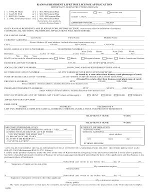 Fillable online kdwpt state ks kansas resident lifetime for Kansas lifetime fishing license