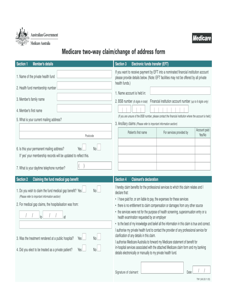 Medicare Two Way Claim Form - Fill Online, Printable ...