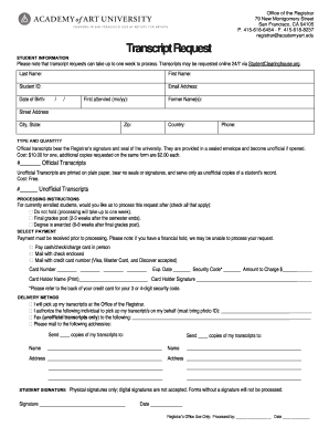 Aau Transcript Request Form