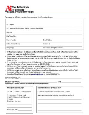 Art Institute Of Fort Lauderdale Transcript Request Form