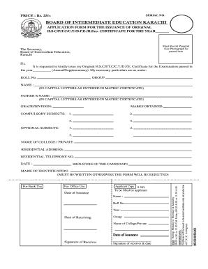 Intermediate Board Karachi Certificate Form - Fill Online ...