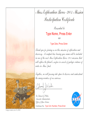 Mars Exploration Rover-2003 Mission Participation Certificate