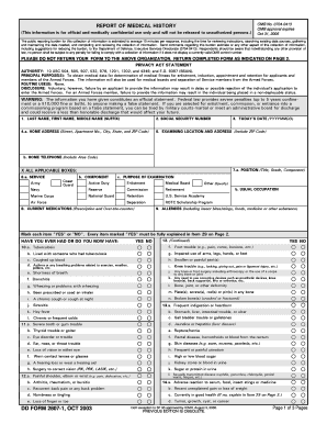 Fillable Online DD Form 2807-1, Report of Medical History, October ...
