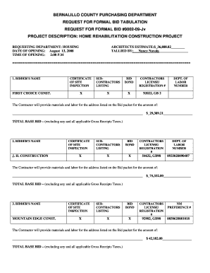housing bid sheet for home rehab projectsdoc bernco