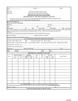 Nc driver license application form pic fill online for Driver license motor vehicle record