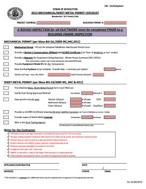 Worcester Sheetmetal Permit Application Fill Online