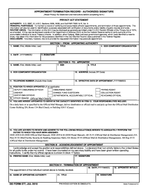 Blank Dd Form 577 - Fill Online, Printable, Fillable, Blank ...