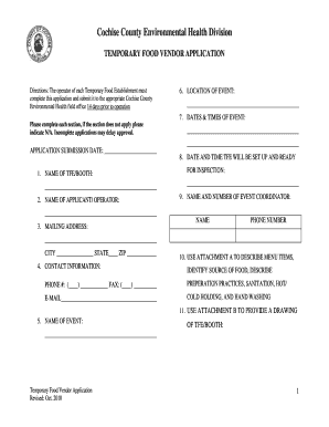 Food vendor permit form - Cochise County Government - cochise az