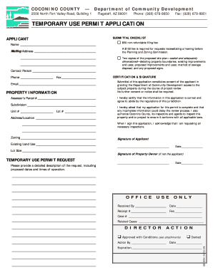 TEMPORARY USE PERMIT APPLICATION - Coconino County Home