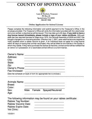 Spotsylvania County Dog License - Fill Online, Printable ...