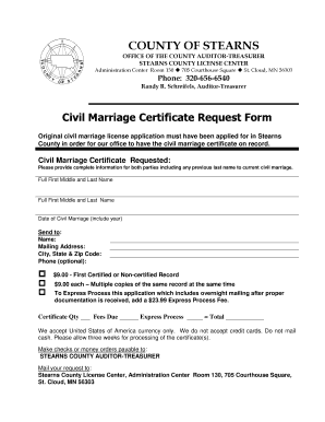 Fillable Online Co Stearns Mn Marriage Certificate Stearns
