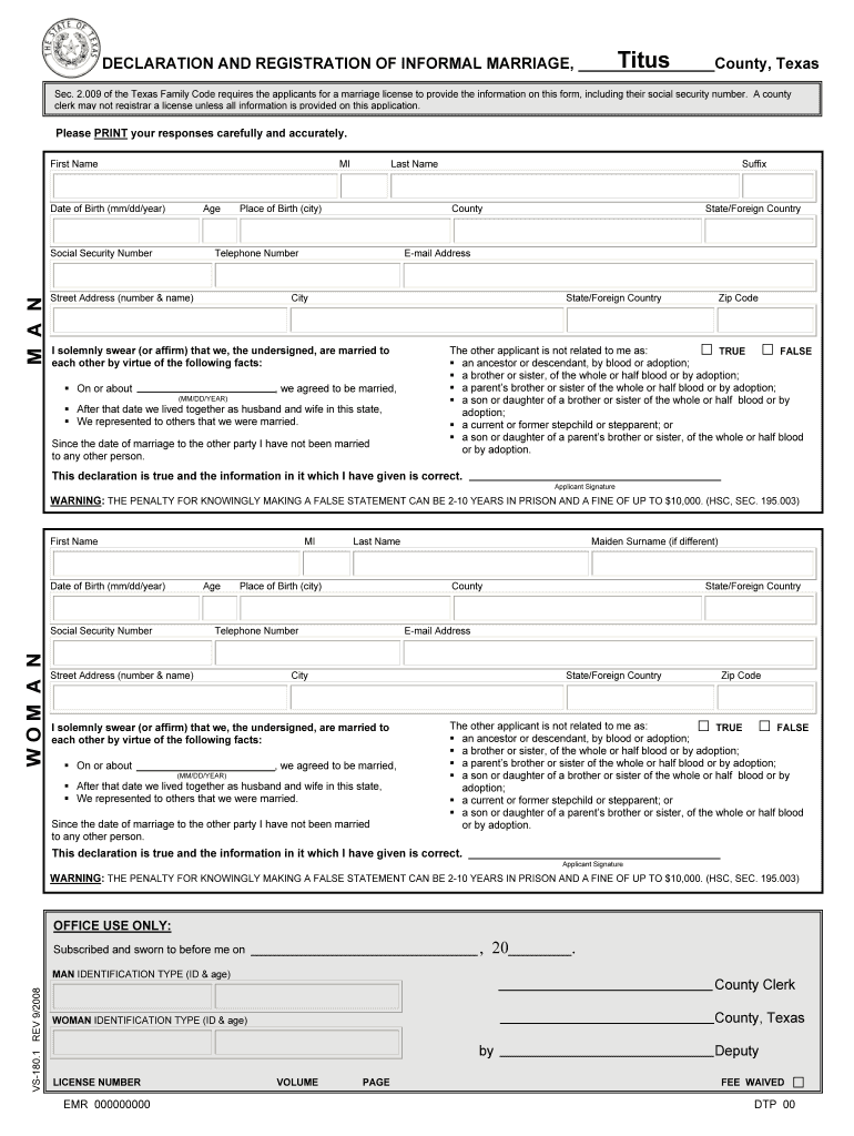 texas declaration registration informal marriage