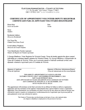 Certificate of appointment volunteer deputy registrar - Victoria County - victoriacountytx