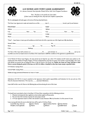 4 H Horse Lease Form   Nassau County Extension   University Of .
