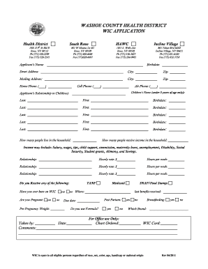 Fillable Online washoecounty WIC Application Form - English ...