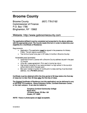 broome county residency form