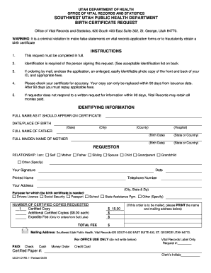 English Birth Certificate Form - PDF - Southwest Utah Public Health ... - swuhealth