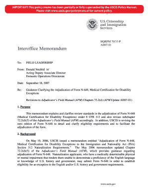Fillable Online uscis Guidance Clarifying the Adjudication of Form ...