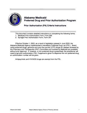 Fillable Online medicaid alabama Alabama Medicaid Preferred Drug ...