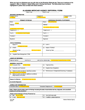 Fillable Online ALABAMA MEDICAID AGENCY REFERRAL FORM Fax Email ...