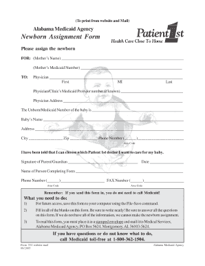 Newborn Assignment Form to Mail