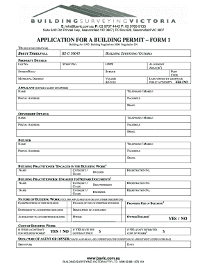 Fillable Online Application For A Building Permit Form 1
